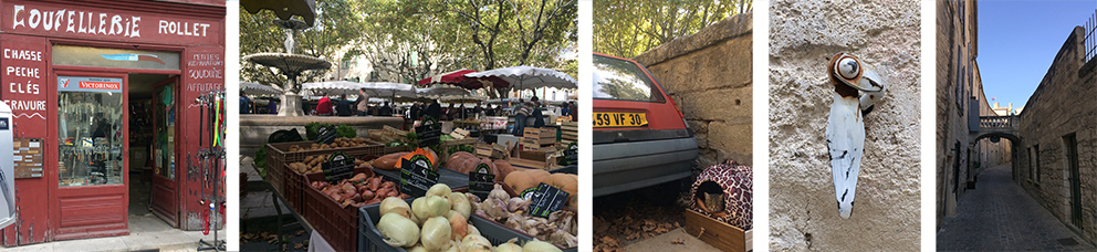 The market and shops in Uzes France