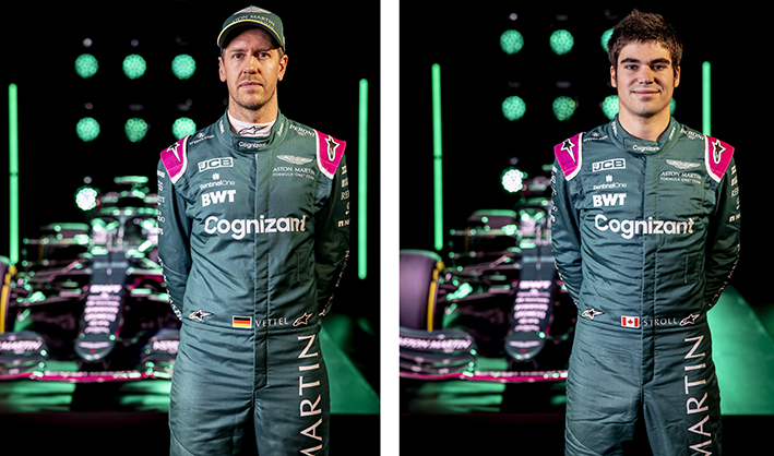 Sebastian Vettel and Lance Stroll Aston Martin F1