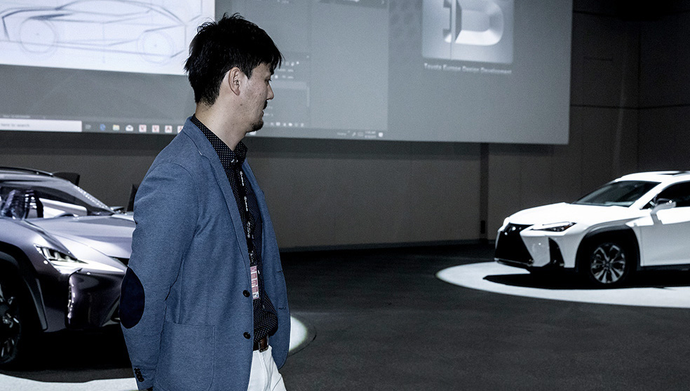 Lexus car designer Hideaki Iida presents his design, the Lexus UX at the Lexus design lab, ED2